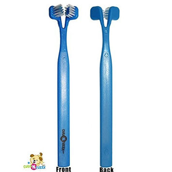 cuteNfuzzy Dog and Cat Double Head Pet Toothbrush for Optimal Oral Health, Blue