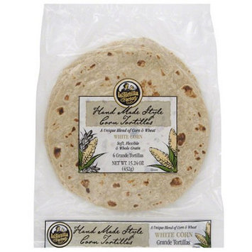 La Tortilla Factory Hand Made Style White Corn Tortillas, 6 count, 15.24 oz, (Pack of 12)