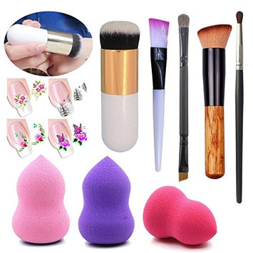 Professional White Chubby Pier Makeup Brush Tools Gourd Shape Make up Sponge Cosmetic Puff Portable Smooth Flat Bb Cream Foundation Eyeshadow Lip Facial Cleaning Brush