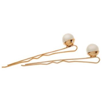 L. Erickson Little Pearl Bobby Pin Pair - Mystic Black Pearl/G