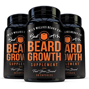 Beard Growth Vitamins for Men by Wild Willies 3Pack - Naturally Faster Hair Growth - 60 Capsules with Biotin - Grow a Thicker, Fuller Beard and Mustache Today [3]