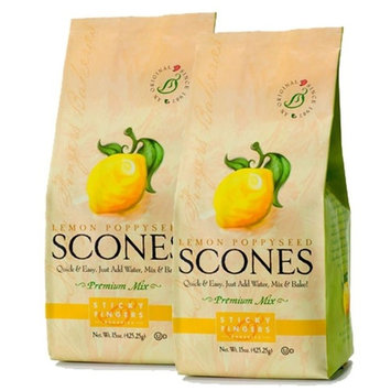 Sticky Fingers Scone Mix (Pack of 2) 15 Ounce Bags – All Natural Scone Baking Mix (Lemon Poppyseed)