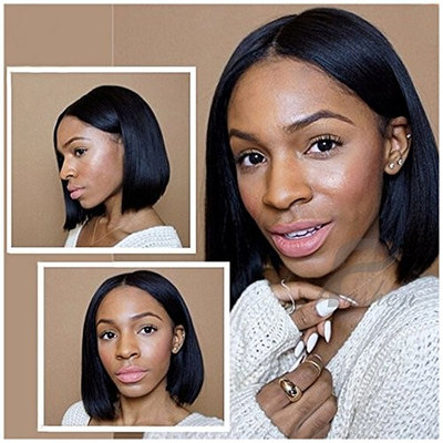 Fushen Hair 13x6 Lace Front Wig Short Bob Wigs for Black Women Full Lace Front Wigs Silky Straight Virgin Human Hair Bob Short Pixie Cut Wig (12 Inches with 150% Density, lace front wigs)