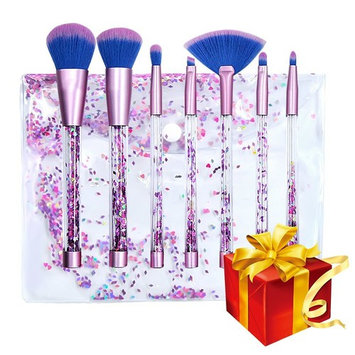 Glitter makeup brushes 7pcs Unicorn Series Shiny Crystal Liquid Quicksand Glitter Acrylic Handle Nylon Hair Makeup Tool Brush Set With Crystal Pouch [Crystal]