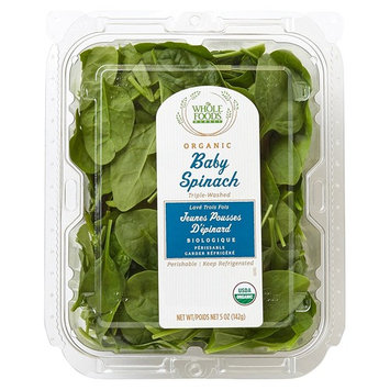 Whole Foods Market, Organic Baby Spinach, 5 oz