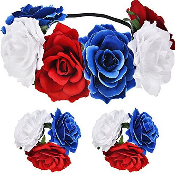 Maxdot Patriotic Floral Flower Crown 4th of July USA American Independence Day Stretch Headband and 2 Pieces Flower Bracelet for Girls and Women