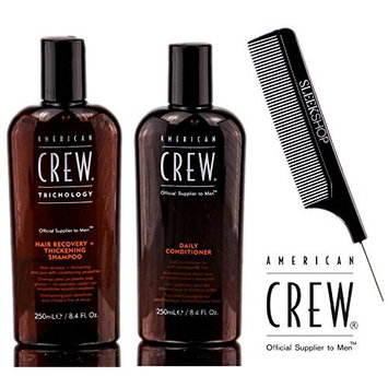 American Crew HAIR RECOVERY + THICKENING Shampoo & Daily Conditioner, Anti-Hair Loss DUO Set (with Sleek Steel Pin Tail Comb)