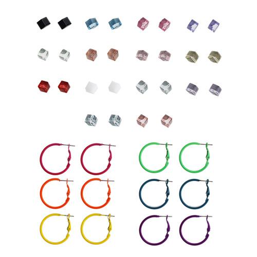 21 Pair Multi Hoop and Cube Stud Earrings