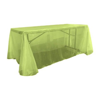 La Linen Sheer Mirror Organza Rectangular Tablecloth Color: Lime