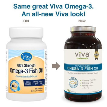 Viva Naturals Omega 3 Fish Oil Supplement, 180 Capsules - Highly Concentrated Fish Oil Omega 3 Pills, Burpless, 2,200mg Fish Oil/serving [180 Softgels]