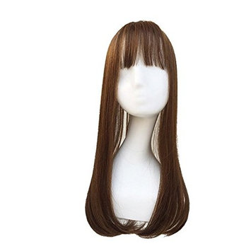 Better-Home Long Straight Synthetic Clip in Hair Topper Top Hairpiece with Air Bang for Women (Light Brown)