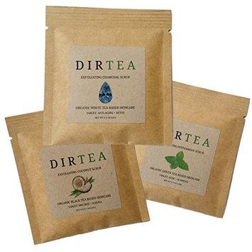 Dirtea Assorted Face & Body Scrubs ♥️ Certified USDA Organic Green, Black, White Teas - 100% Love Your Skin Guarantee (4 week course - 8 packets))