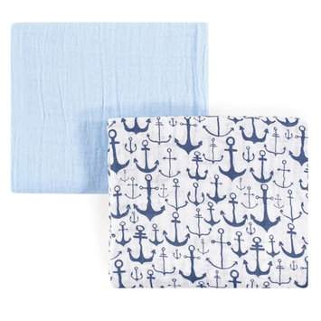 Yoga Sprout Anchor 2-Pack Muslin Swaddle Blanket Set in Blue