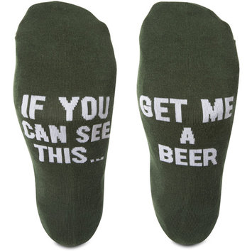 Pavilion - If You Can See This...Get Me A Beer - Green Mens Cotton Blend Socks