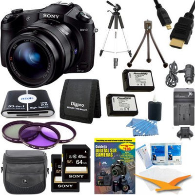Sony Cyber-shot DSC-RX10 Digital Camera and 2 64GB SDXC Cards and 2 Batteries Bundle