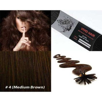 Vivid Hair 100 Strands Wavy Body Wave Micro Ring Links Locks Beads Keratin Stick I Tipped Pre Bonded Human Hair Extensions Color #4 (Medium Brown)