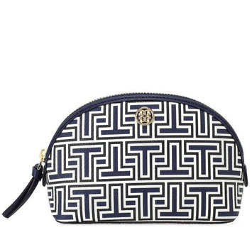 Tory Burch Parker Cosmetics Case, Size One Size - Spring T Small - Navy/ Ivory