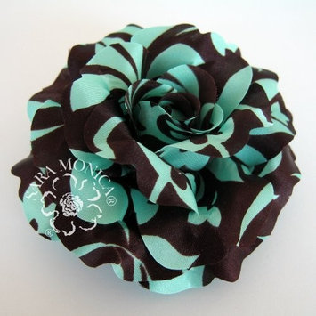 Sara Monica: Flower Hair Clip and Brooch Pin: Turquoise Cocoa Rose: Made in USA