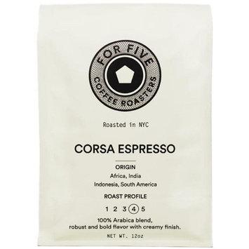 For Five Coffee Roasters Corsa Espresso Dark Roast (Origin: Africa, India, Indonesia, South America), Whole Bean 12 oz