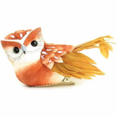 Touch of Nature 1-Piece Small Feather Owl on Clip for Arts and Crafts, 3-Inch, Brown/Red