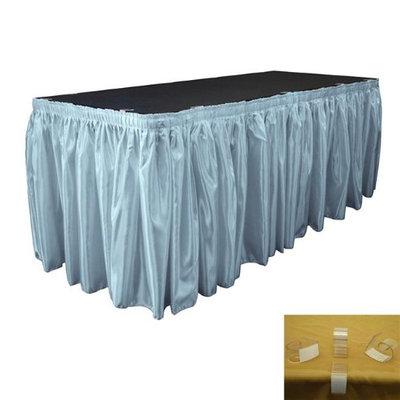 LA Linen SkirtBridal30X29-15Lclips-BlueLgtB18 Bridal Satin Table Skirt with 15 L-Clips Light Blue - 30 ft. x 29 in.