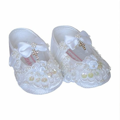 GIRLS CHRISTENING SHOES WHITE SATIN WITH BEADED LACE AND CRYSTAL CROSS, 3-6 MONTHS, CHARLOTTE