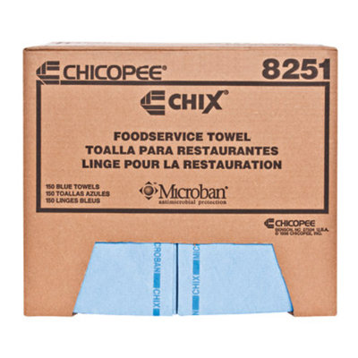 Chix Food Service Towels, Cotton, 13-in x 24-in, Blue, One Pack of 150 Towels per Case