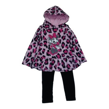Desigual Little Girls Pink Cheetah Print Minnie Mouse Hooded Top 2 Pc Pant Set 5