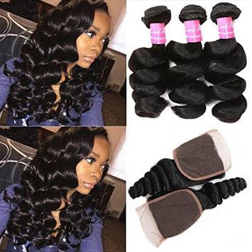 Mink Hair 7A Loose Wave Bundles with Closure (14 16 18+12) Unprocessed Brazilian Weave Hair Human Bundles with 4x4 Closure Free Part Natural Color