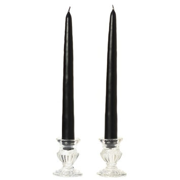 Usc 3 Pairs Taper Candles Unscented 15 Inch Black Tapers .88 in. diameter x 15 in. tall (Pack of 3)