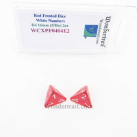 Wondertrail Products Red Frosted Dice with White Numbers D4 Aprox 16mm (5/8in) Pack of 2 Wondertrail