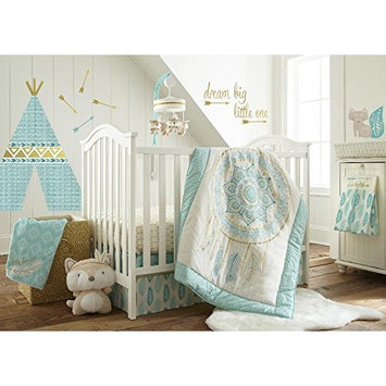 Levtex Baby Little Feather Aqua 5 Piece Crib Bedding Set, Quilt, 100% Cotton Crib Fitted Sheet, 3-tiered Dust Ruffle, Diaper Stacker and Large Wall Decals