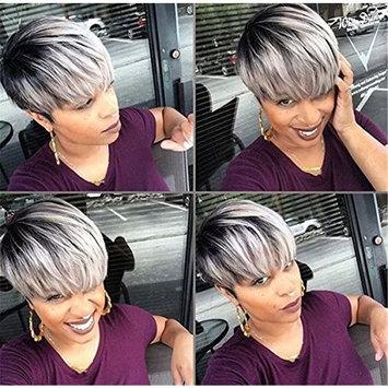 Fashion Charm Women Ladies Short Mix Grey Natural Hair Wigs