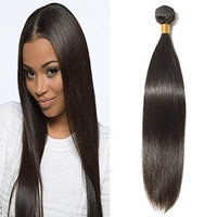 100% Human Hair Bundles Straight Unprocessed Virgin Brazilian Remy Human Hair Extensions #1B,Natural Black(12