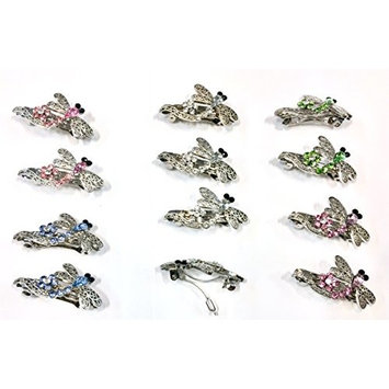 12 Pieces Set Dragonfly Style Crystal Barrette With Silver Metal Clip 5 Different Crystar Color