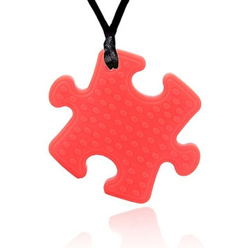 Sensory Chew Necklace for Kids, Heavy Chewer Boys and Girls Chewy Jewelry- Oral Motor Chewing Biting Silicone Puzzle Teething Necklace for Baby Nursing Mom Autism, ADHD Children Chewely Necklace - Red
