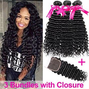 Flady Brazilian Deep Wave Human Hair 3 Bundles with Closure 10A Unprocessed Virgin Hair Deep Wave Bundles with Free Part Closure