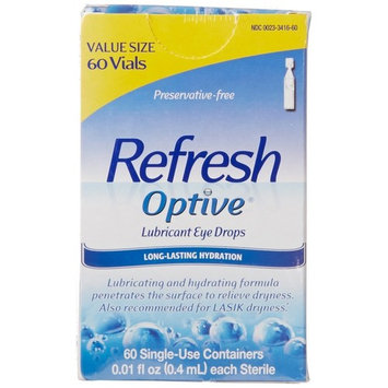 2 Pack - Refresh Optive Lubricant Eye Drops Single-Use Vials 60 Each