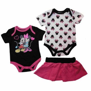 Disney Infant Minnie Mickey Pink Black Creeper Bodysuit Skirt Set 3-6m