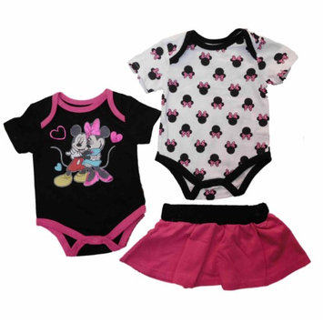 Disney Infant Minnie Mickey Pink Black Creeper Bodysuit Skirt Set 0-3m