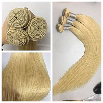 Quercy Hair Brazilian Virgin Thick 613 Blonde Color Silky Straight Hair Weaving, Pack of 3pieces