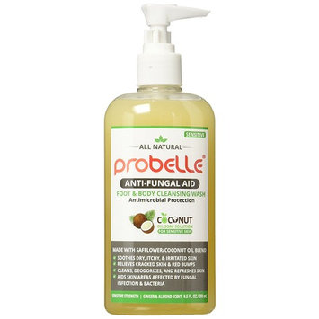 Antifungal Soap from Safflower and Pure Coconut Oil with Antimicrobial Protection. Aids Skin Areas Affected by Fungal Infection & Bacteria. Sensitive Strength, Ginger and Almond Scent. 9.5 oz/ 280 mL