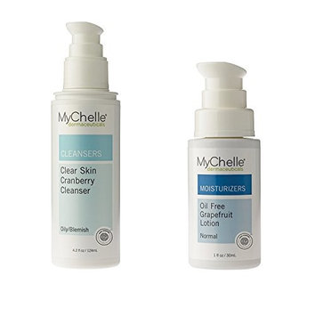 MyChelle Oil Free Grapefruit Lotion and Clear Skin Cranberry Cleanser with Witch Hazel Water, Willow Bark Extract, Honey, Seabuckthorn Fruit Extract, and Rosemary Leaf Oil, 1 oz. and 4.2 oz.