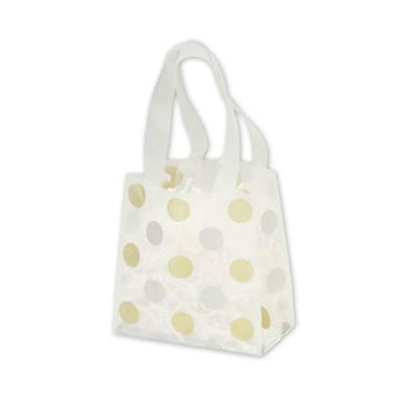 Bags & Bows by Deluxe 268-060306-157C Gold & Silver Dots Clear Frosted Flex Loop Shoppers - Case of 100
