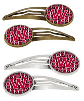 Letter W Football Crimson and White Set of 4 Barrettes Hair Clips CJ1079-WHCS4