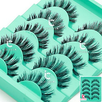 5 Pairs Natural Thick Eye Lashes Makeup Handmade Fake Cross False Eyelashes Long