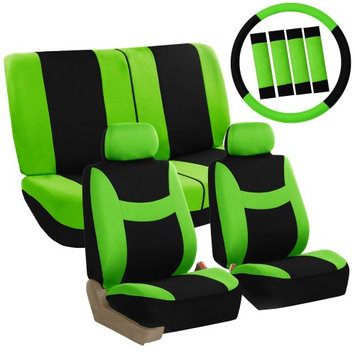 Fh Group Car Seat Covers Green Full Set for Auto w/Steering Wheel/Belt Pad/2Head Rest