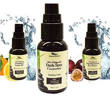 Simply Radiant Beauty Organic Skin Brightening Trio- Vitamin C Serum, Age Reversing Eye Serum, Dark Spot Corrector