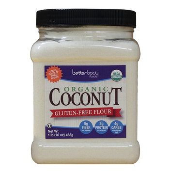 BetterBody Foods Organic Coconut Flour a Naturally Gluten-Free White Flour Alternative with a Slight Coconut Taste and Aroma, 1 Pound