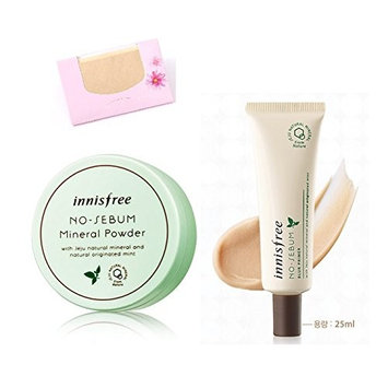 BUNDLE - Innisfree No Sebum Mineral Powder 0.18 Oz/5g + Blur Primer 0.85 Oz/25Ml + SoltreeBundle Natural Hemp Paper 50pcs